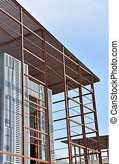 Steel building construction framework
