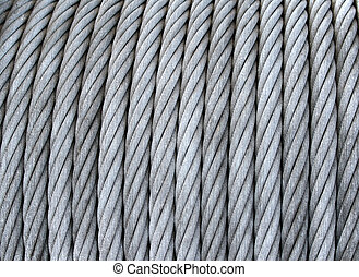 Steel cable on a coil - Closeup of steel cable on a big...