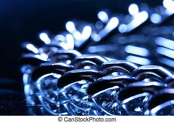 steel chain macro close up