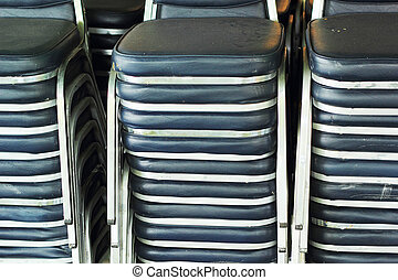 Steel chair with backrest - stacked.
