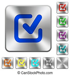 Steel checkmark buttons