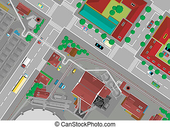 steel city - Steel City with the residential area, cartoon...