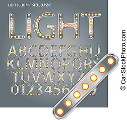 Steel Classic Light Bulb Alphabet and Digit Vector