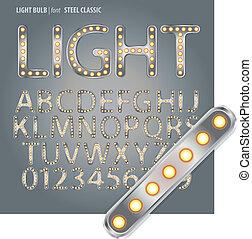 Steel Classic Light Bulb Alphabet and Digit Vector