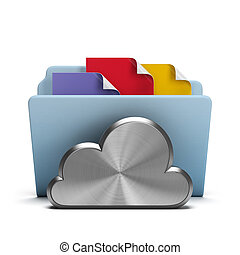 Steel Cloud and folder with documents. 3d image. White background.