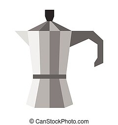 Steel coffee pot icon, flat style