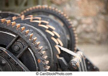 steel cog wheels metal gears mechanical ratchets - Close up...