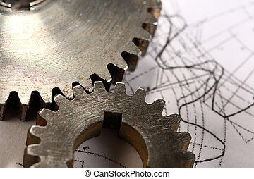 Steel cogwheels in connection on drawing