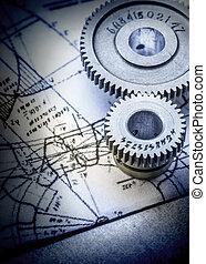 Steel cogwheels on drawing