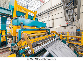 Steel coil cut machine. Industrial environment