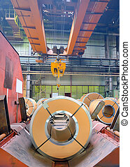 steel coils in production shop of plant