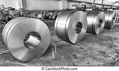 Steel coils inside industrial shed