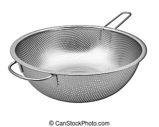 Steel colander  with handle  isolated on white