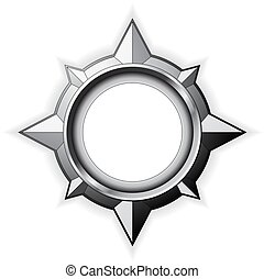 Steel Compass Rose - Steel detailed compass rose isolated on...