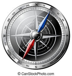 Steel Compass - Steel detailed compass isolated on white10.