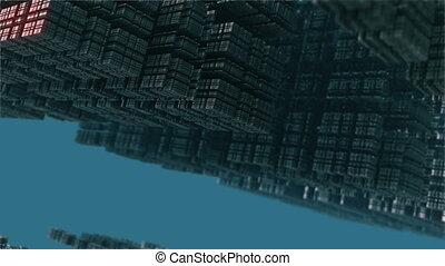 steel complex structures in blue