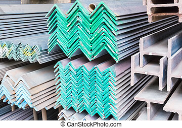 steel construction materials closeup, color mark for...