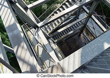 steel construction - Steel construction with stairs as...