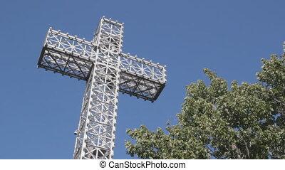 Steel crucifix. - Large steel cross. Mount Royal, Montreal,...