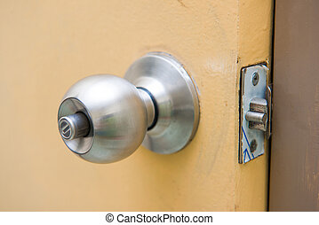steel door knob on the yellow door