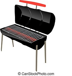 steel drum style bbq grill with open lid and glowing coals