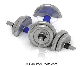 Steel dumbbells with blue handle