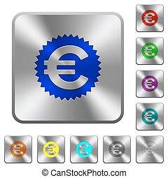 Steel euro sticker buttons