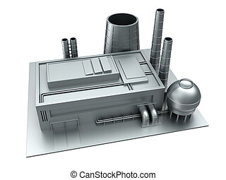steel factory building - 3d illustration of factory...