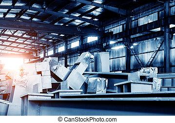 Steel factory stacked steel - Steel factory floor, stacked...
