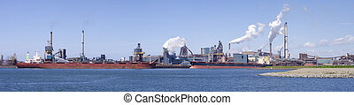 steel factory - panoramic view of a large steel factory at...