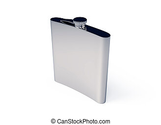 Steel Flask 3d Illustration Isolated Object Render