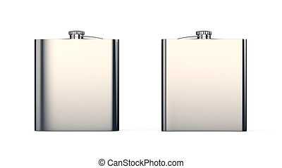 Steel Flask 3d Illustration Isolated Two Side