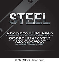 Steel Font and Numbers, Eps 10 Vector, Editable for any...