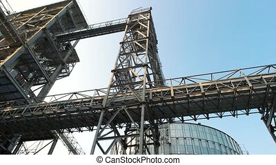 Steel frame building, up view. Steel metal construction.