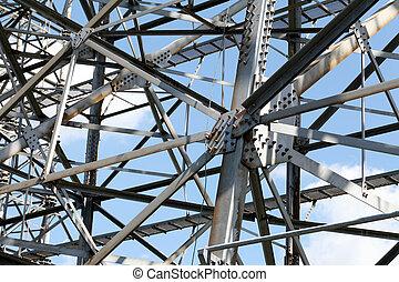 Steel framework against a clear blue sky