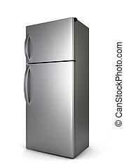 Steel fridge. 3d illustration isolated on white background
