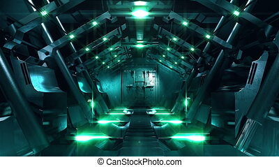 Steel gate opening in science fiction tunnel - Two high...
