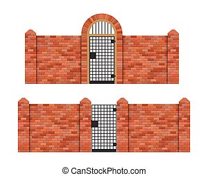 Steel gate with brick fence vector illustration isolated on white background
