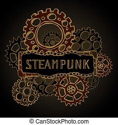 steel gears, steampunk, hand drawing, vector illustration