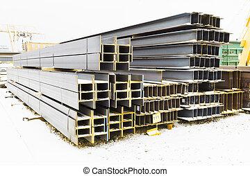 steel girders in outdoor warehouse in winter