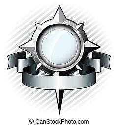 Steel glass in shape of windrose