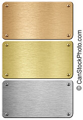 Steel, gold and bronze metal plaques with clipping path included 3d illustration