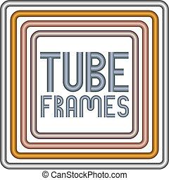 Steel, golden, copper and bronze metal tube frames