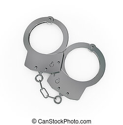 Steel handcuff closeup.Isolated on white background.3d...