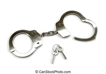 handcuffs - steel handcuffs isolated on white background