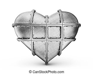 steel heart isolated on a white background