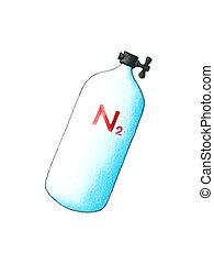 Nitrogen  - Steel high-pressure tank with Nitrogen