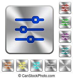 Steel horizontal adjustment buttons - Engraved horizontal...