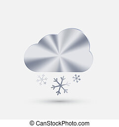 steel icon, cloud snow - steel icon. cloud snow