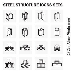 steel icon - Steel structure icons sets.